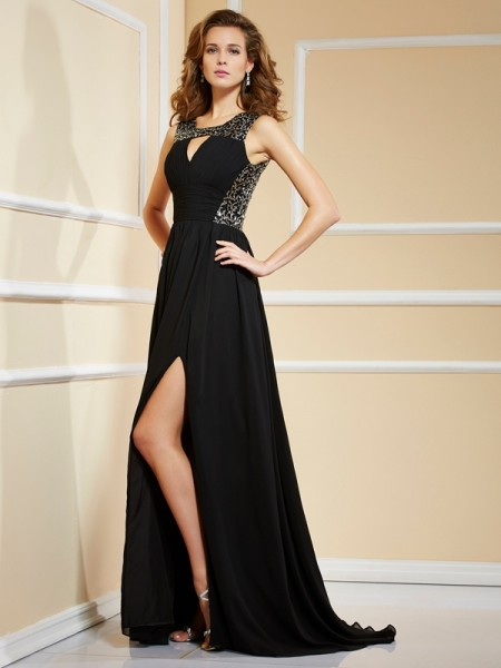 Princess Chiffon Sleeveless High Neck Paillette Sweep/Brush Train Evening/Formal Dresses