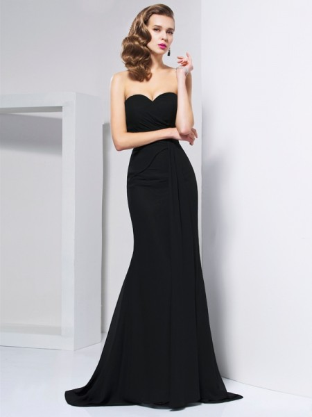 Trumpet/Mermaid Sweetheart Sleeveless Sweep/Brush Train Chiffon Evening/Formal Dresses with Pleats
