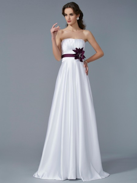 Princess Strapless Sleeveless Satin Sweep/Brush Train Prom/Evening Dresses with Hand-Made Flower