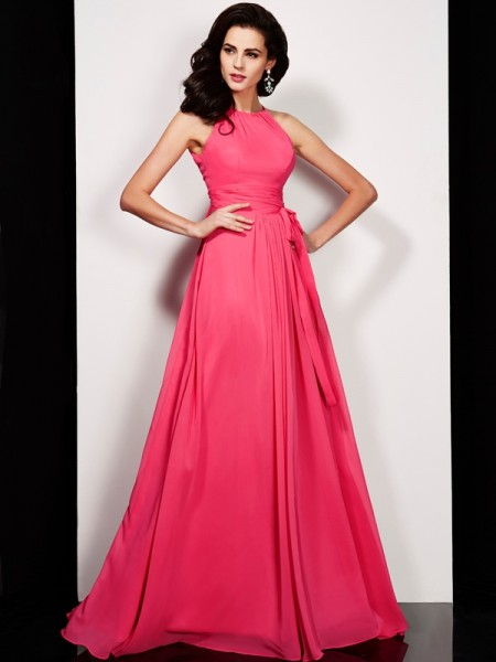 Princess Floor-length High Neck Chiffon Dresses with Sash/Ribbon/Belt Pleats