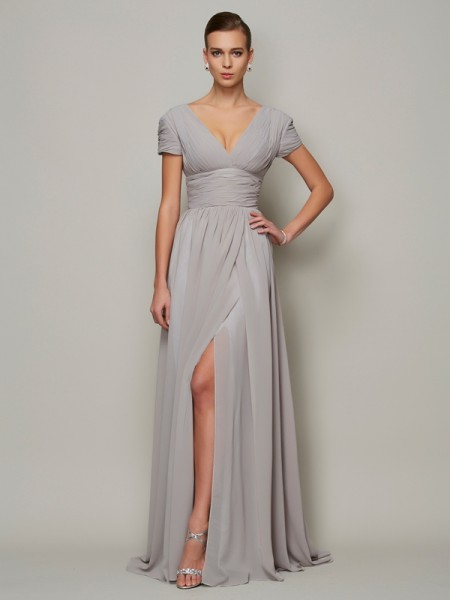 A-line/Princess V-neck Floor-length Short Sleeves Chiffon Dresses