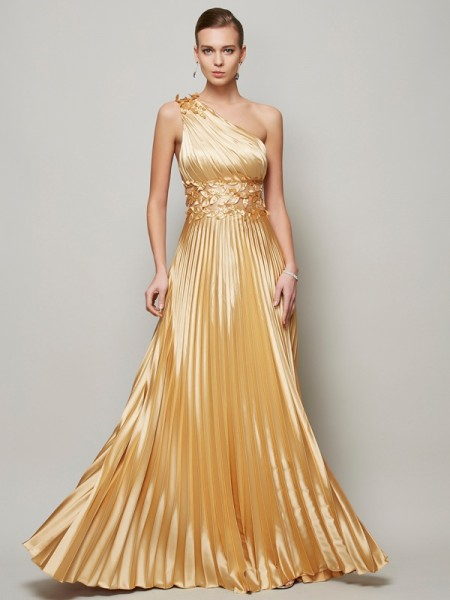 A-Line/Princess One-Shoulder Floor-Length Elastic Woven Satin Dresses with Hand-Made Flower