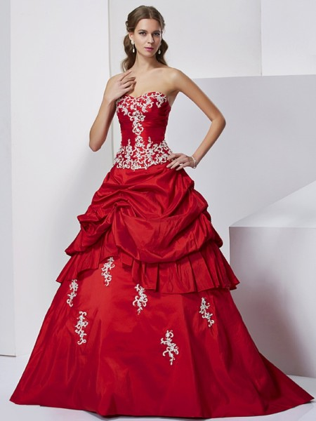Ball Gown Sweetheart Sleeveless Floor-Length Taffeta Formal Dresses with Applique Beading