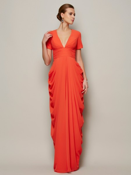Sheath/Column Short Sleeves V-neck Floor-length Chiffon Dresses with Pleats