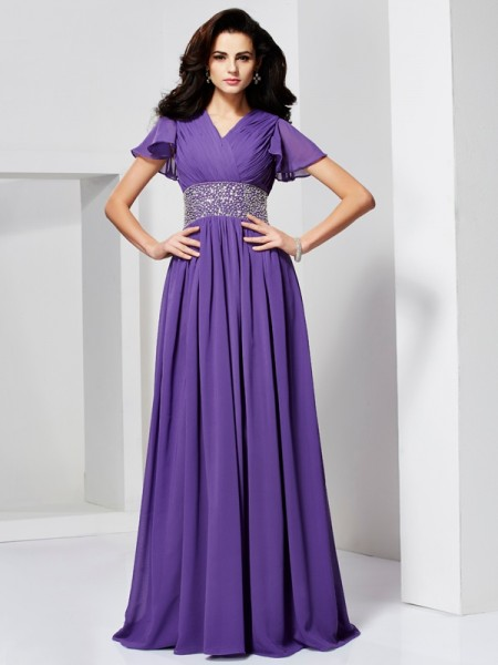 A-Line/Princess Short Sleeves V-neck Floor-Length Chiffon Dresses with Beading