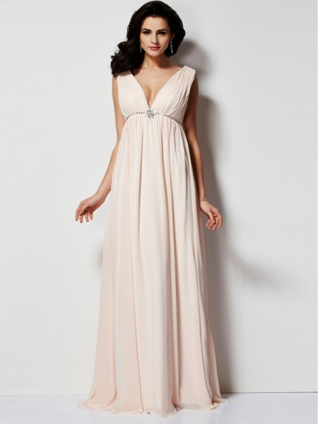 A-Line/Princess Sleeveless V-neck Floor-Length Chiffon Dresses with Pleats