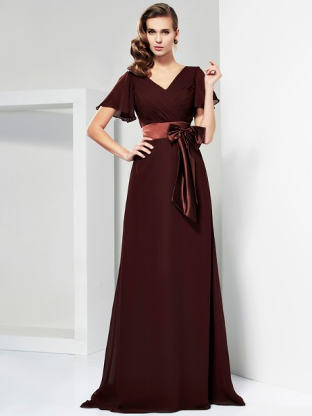 A-line/Princess Short Sleeves V-neck Bowknot Sweep/Brush Train Dresses with Sash/Ribbon/Belt