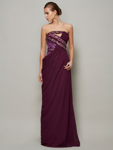 A-line Strapless Sleeveless Floor-length Chiffon Dresses with Beading