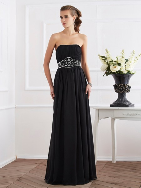Princess Strapless Sleeveless Floor-Length Chiffon Dresses with Beading