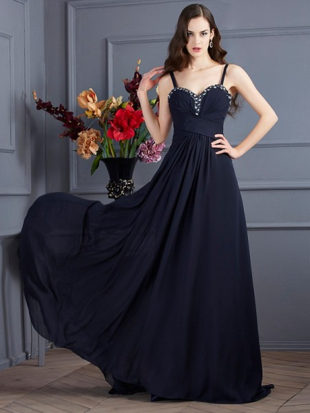 A-Line/Princess Spaghetti Straps Sleeveless Chiffon Sweep/Brush Train Dresses with Beading