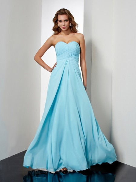 A-Line/Princess Sweetheart Sleeveless Floor-Length Chiffon Evening/Prom Dresses with Beading