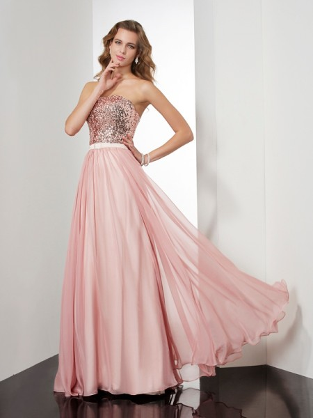 A-Line/Princess Sleeveless Strapless Paillette Floor-Length Chiffon Dresses