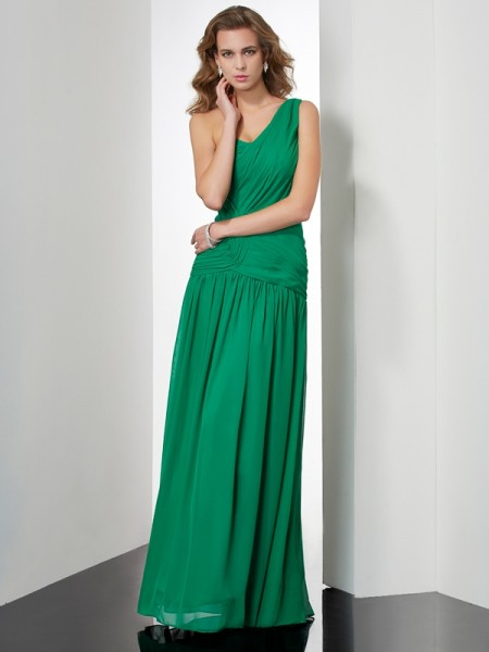 A-Line/Princess Sleeveless One-Shoulder Floor-Length Chiffon Dresses with Pleats