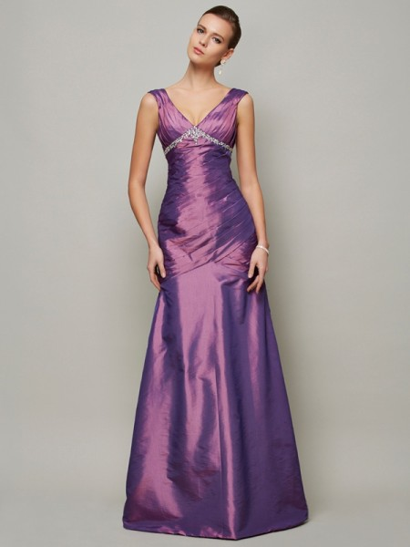 Sheath/Column Sleeveless V-neck Floor-Length Taffeta Evening/Formal Dresses with Ruffles