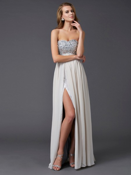 A-line/Princess Ankle-length Sweetheart Sleeveless Chiffon Dresses with Beading