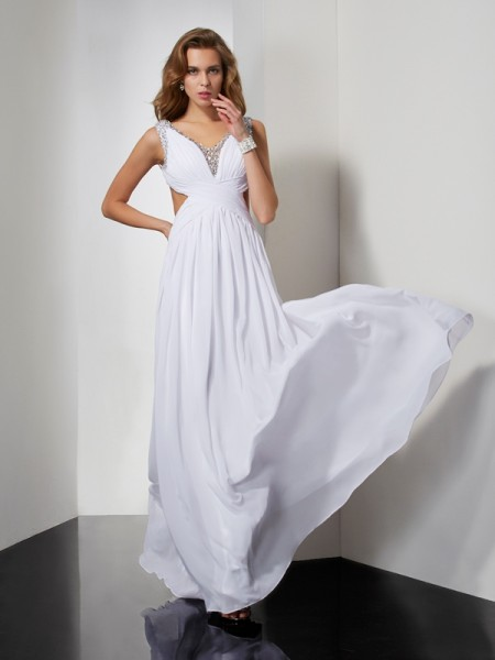 A-line/Princess Sleeveless Straps Floor-length Chiffon Dresses with Beading