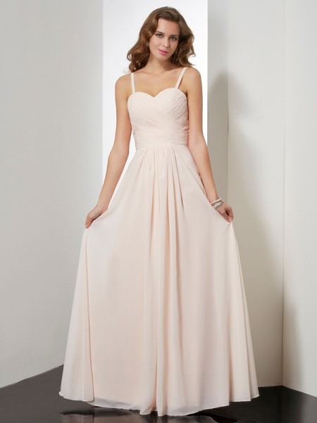 Sheath/Column Sleeveless Spaghetti Straps Floor-length Chiffon Dresses with Ruffles