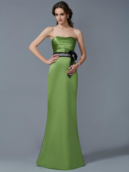Sheath/Column Strapless Sleeveless Satin Long Dresses with Sash/Ribbon/Belt
