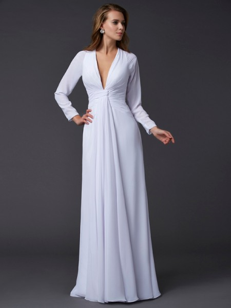 Sheath/Column Long Sleeves V-neck Floor-Length Chiffon Prom/Evening Dresses with Ruched