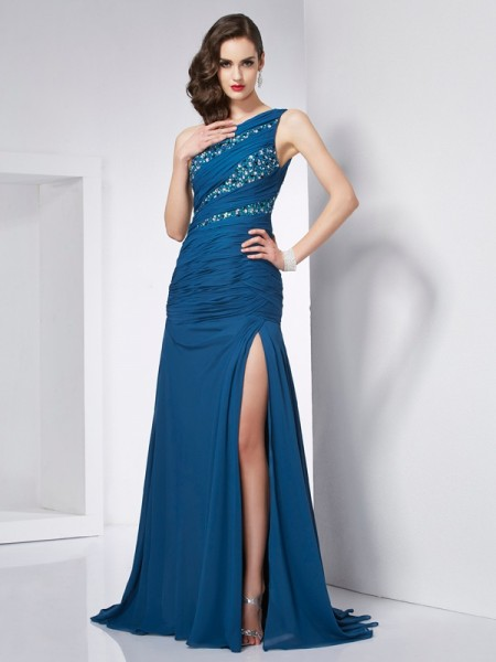 A-Line/Princess One-Shoulder Sleeveless Chiffon Sweep/Brush Train Dresses with Beading