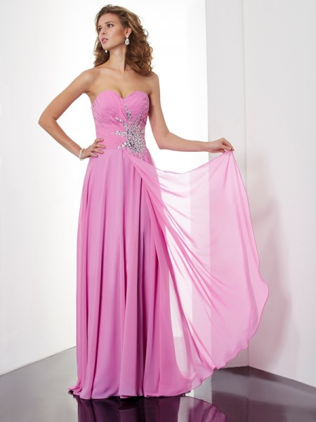 A-Line/Princess Floor-Length Sleeveless Sweetheart Chiffon Dresses with Ruched