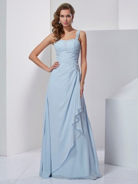 A-Line Straps Sleeveless Floor-Length Chiffon Dresses with Beading