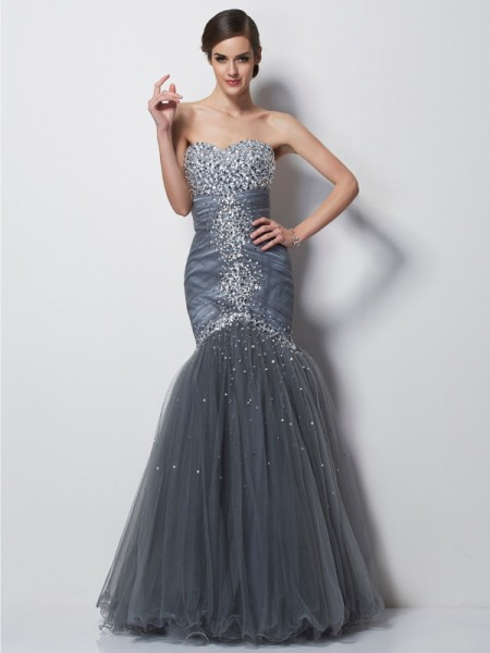 Trumpet/Mermaid Sweetheart Sleeveless Floor-Length Satin Dresses with Beading