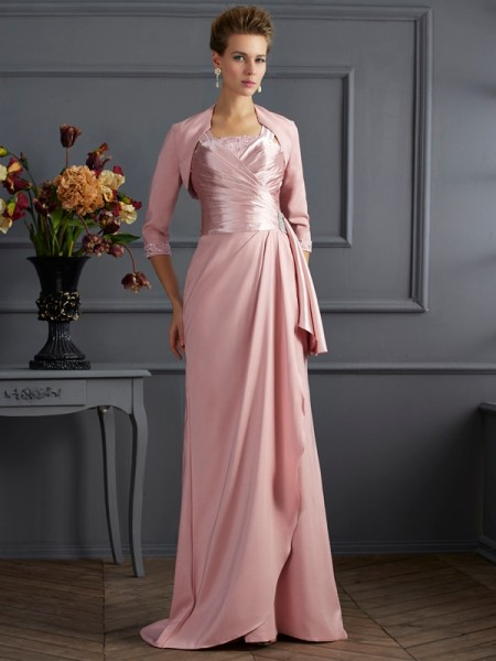 Sheath/Column Straps Sleeveless Sweep/Brush Train Elastic Woven Satin Mother of the Bride Dresses