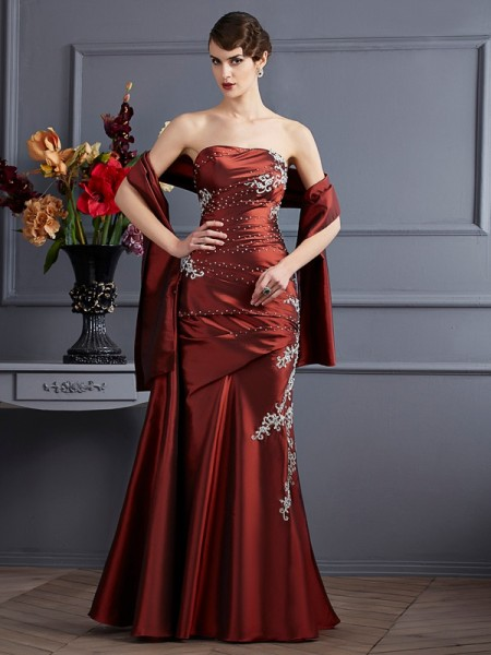Sheath/Column Sleeveless Strapless Floor-Length Taffeta Dresses with Applique with Beading