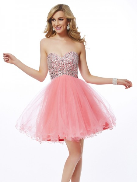 Princess Sweetheart Sleeveless Short/Mini Net Dresses with Beading