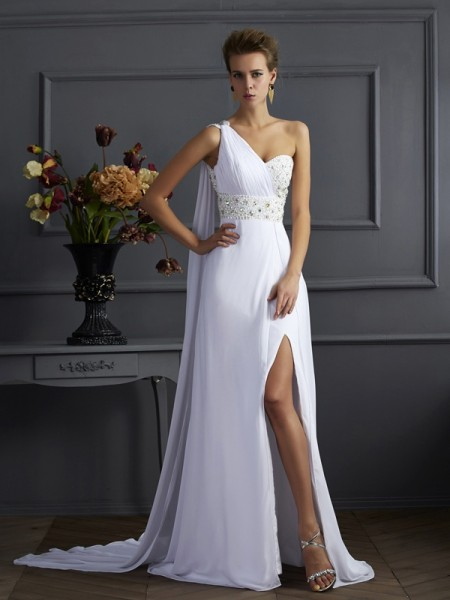 Sheath/Column One-Shoulder Sleeveless Chiffon Sweep/Brush Train Dresses with Beading
