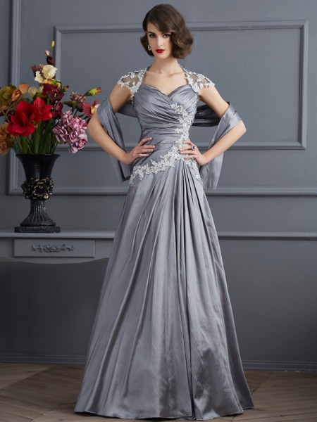 A-Line/Princess Sweetheart Short Sleeves Taffeta Long Evening Dresses with Applique Beading