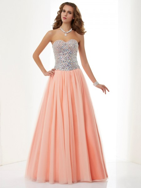 A-Line/Princess Sweetheart Sleeveless Floor-Length Elastic Woven Satin Dresses with Beading