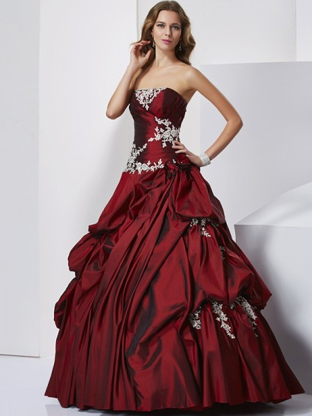 Ball Gown Sweetheart Sleeveless Floor-length Taffeta Prom Dresses with Beading