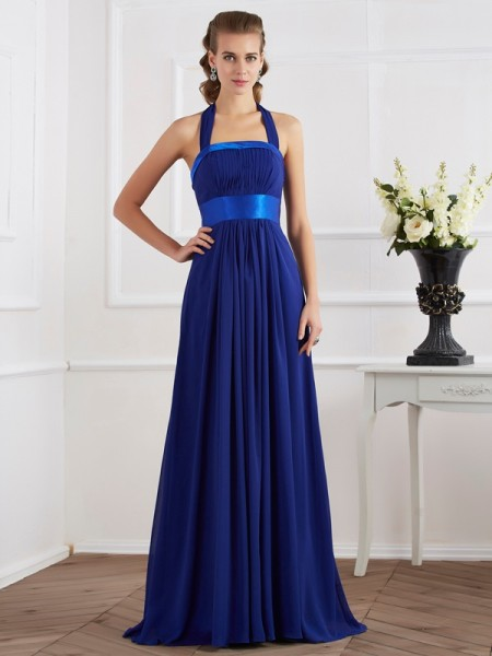 A-Line/Princess Halter Sleeveless Floor-Length Chiffon Dresses with Ruched