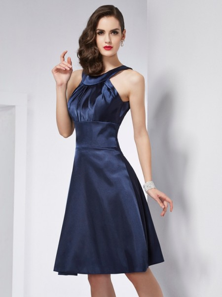 A-Line/Princess Scoop Sleeveless Knee-Length Elastic Woven Satin Dresses with Pleats