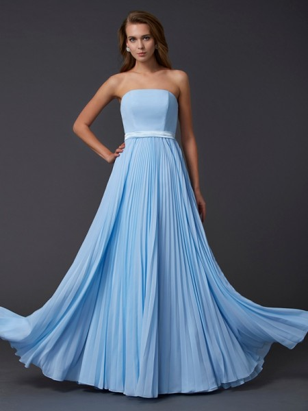A-Line/Princess Strapless Sleeveless Chiffon Long Dresses with Ruched