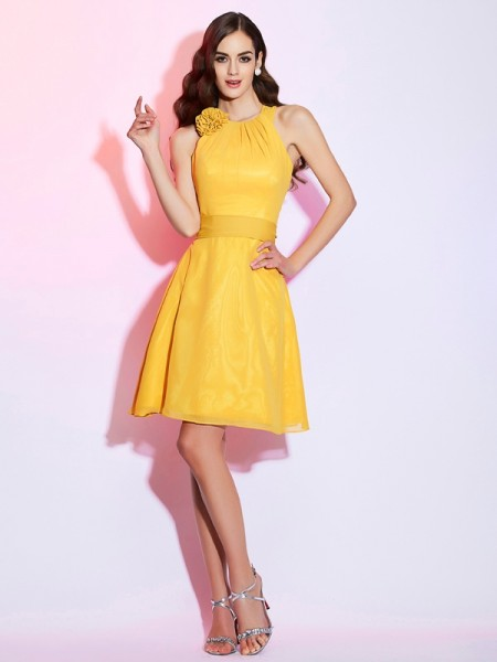 Sheath/Column High Neck Sleeveless Chiffon Short Dresses with Hand-Made Flower