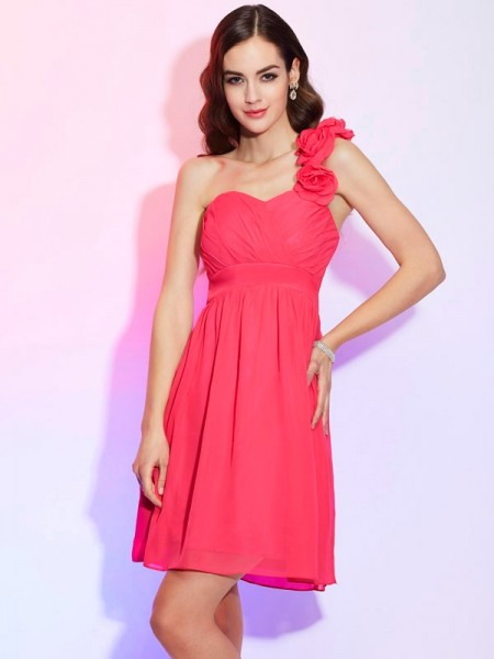A-Line/Princess One-Shoulder Sleeveless Chiffon Short Cocktail/Homecoming Dresses with Pleats