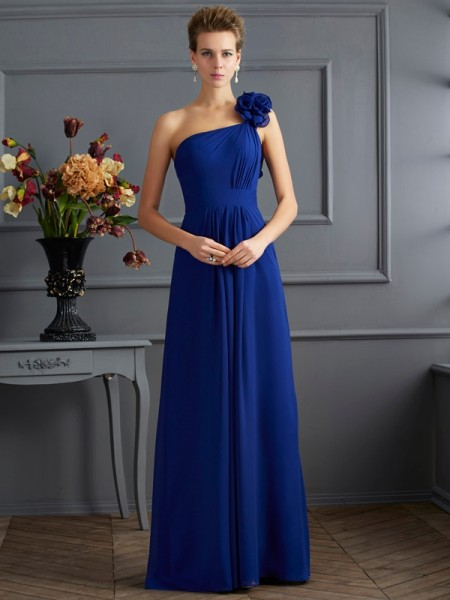 A-Line/Princess One-Shoulder Chiffon Long Dresses with Pleats