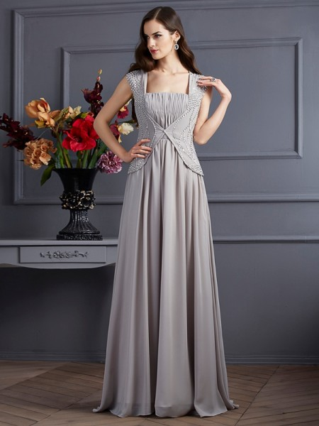 A-Line/Princess Sleeveless Square Chiffon Long Dresses with Beading