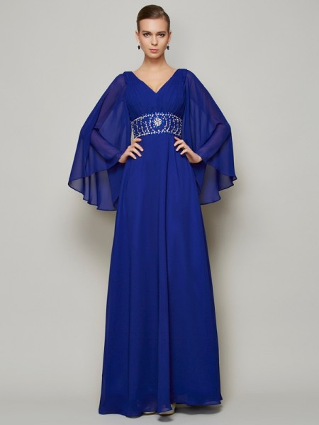 A-Line/Princess V-neck Floor-length Long Sleeves Chiffon Dresses with Beading