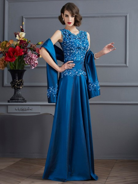 A-Line/Princess V-neck Sleeveless Floor-Length Taffeta Dresses with Applique with Beading