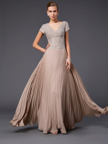 A-line/Princess V-neck Short Sleeves Floor-length Chiffon Dress with Beading