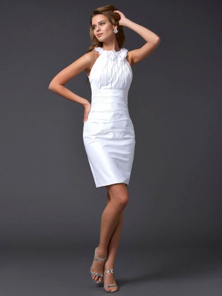 Sheath/Column Sleeveless Taffeta High Neck Short Cocktail/Homecoming Dresses with Hand-Made Flower