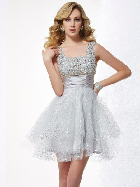 A-Line/Princess Sleeveless Straps Short/Mini Elastic Woven Satin Dresses with Beading