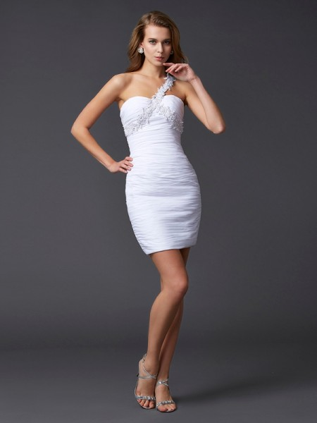 Sheath/Column One-Shoulder Sleeveless Chiffon Short Cocktail/Homecoming Dresses with Applique with Beading