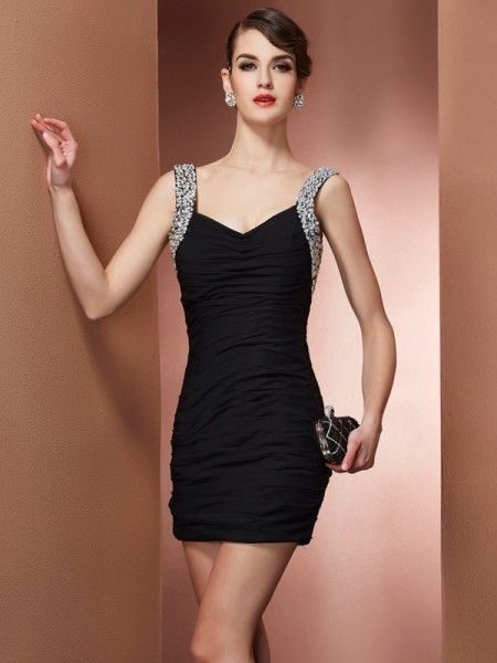 Column Straps Sleeveless Chiffon Short Cocktail/Homecoming Dresses with Beading