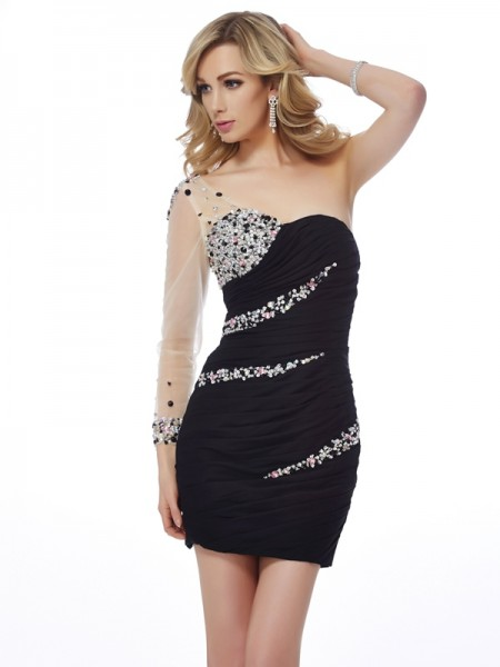 Column One-Shoulder Chiffon Short Cocktail/Homecoming Dresses with Beading