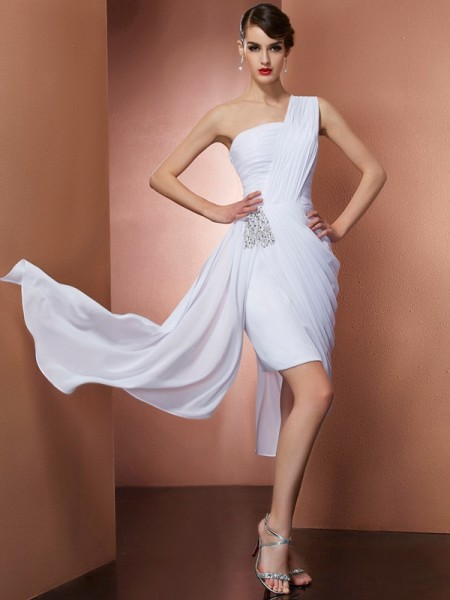 Sheath/Column One-Shoulder Sleeveless Chiffon Short Cocktail/Homecoming Dresses with Pleats Beading